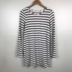ALYA Casual Sweater Dress Gray and White Striped